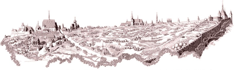 View into the Albertov Valley after the foundation of the New Town of Prague (drawing reprinted from V. Lorenc's New Town of Prague).